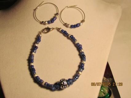 Blue & Silver Bracelet & Earring Set