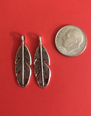 New 2 Antiquated Silver Feather Charms 28x9 mm