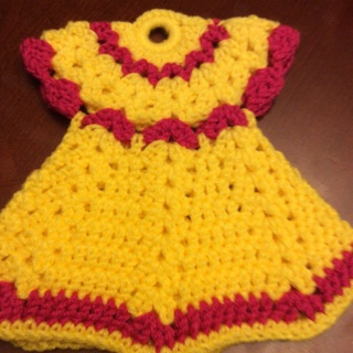 """Hand Crochet Decorative Double Sided Angel PotHolder. Spring Collection. 9x9.5"""""""