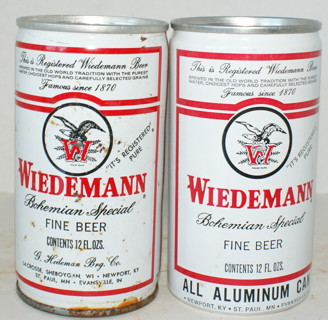 2 Vintage Beer Cans - Wiedemann Beer