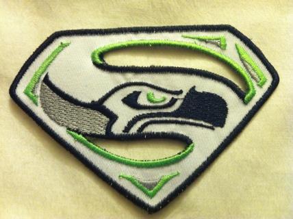 Seattle Seahawks Superman Logo -White - Iron on Patch