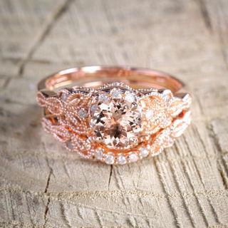 NEW 2Pcs Ring/Set 18K Rose Gold White Topaz Wedding Engagement US Size 5-10 Hot