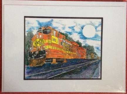 """MOONLIT BNSF - 5 x 7"""" art card by artist Nina Struthers - GIN ONLY"""
