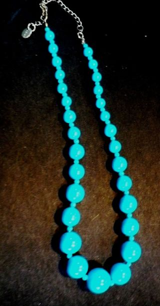 "Beautiful Light Blue/turquoise color Beaded ""Chairo's"" 9 inch Necklace"