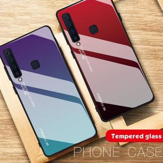 Case For Samsung Galaxy A9 2018 Case Tempered Glass Fashion Gradient Simple Luxury Anti-knock Shoc
