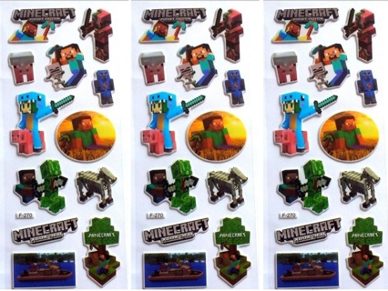 NEW MINECRAFT Puffy Stickers 3 sheets vinyl thick stickers FREE SHIPPING