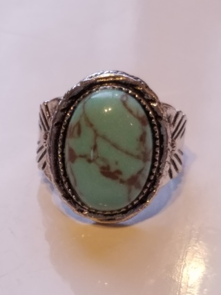 Turquoise and Silver Genuine Gemstone RING Size 10 Vintage Style Stamped