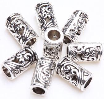 50PCs Retro Tibetan Silver Tube Charms Loose Spacer Beads Jewelry Makings DIY