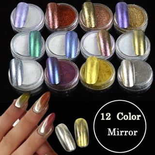 1 Bottle Magic Mirror Effect Fine Pigment Powder Nail Art Glitter DIY Dust +1 Brush Manicure TR#0