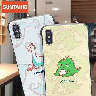 Cute Cartoom Fun dinosaur Phone Case for iPhone X Xs Max XR 7 8 6S 6 Plus Case Fundas Borderless