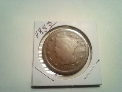 1852. CORONET LARGE PENNY. GOOD CONDITION.......GOOGLE COIN AND COMPARE