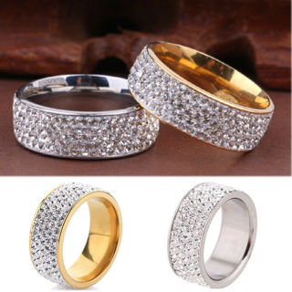 Stainless Steel Crystal Band Ring Gold Silver Wedding Band Ring