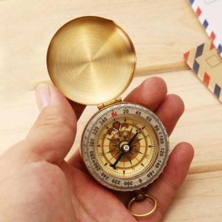 Brass Luminous Pocket Watch Style Mini Compass Outdoor Camping Hiking Navigation
