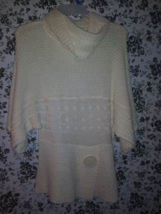 Plus size new with tags warm pullover shirt, white cherry wrap dress.