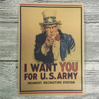 Paper Wall Flagg Painting Decor Poster Uncle Sam World War II