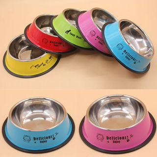 15CM Anti-skid Dog Cat Food Water Drinking Bowl Stainless Steel Pet Bowl