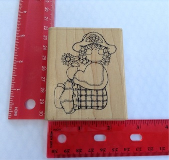 GIRL HOLDING FLOWER rubber stamp scrapbooking paper crafts card making