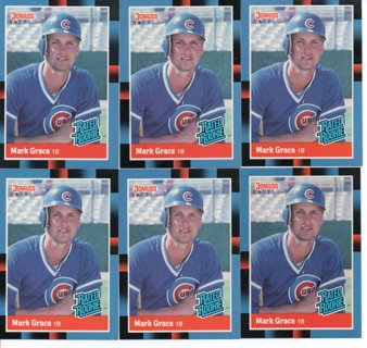 (6) 1988 Donruss Mark Grace Rated Rookies