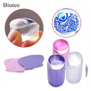Biutee Clear Silicone Stamper Transparent Jelly Nail Stamping Stamp Scraper Set Polish Print Trans