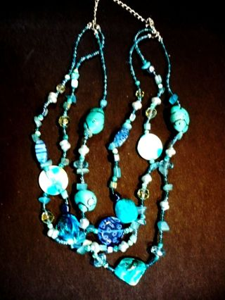 Vintage NECKLACE WITH TURQUOISE Color STONES and other BEADS