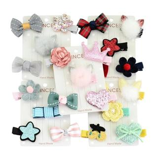 YWHUANSEN 5pcs/set Rabbit Ear Baby Girls Hair Clips Imitation Mink Hair Barrette Baby Hair Accesso