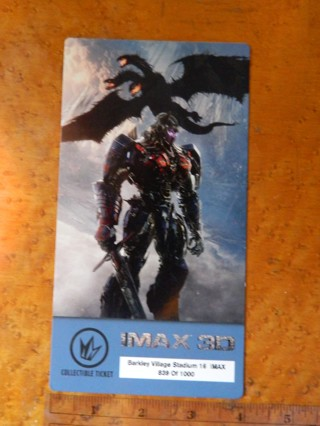 IMAX 3D MOVIE CARD Transformers The Last Night / Regal Collectible Ticket 839/1000 - FREE Shipping!