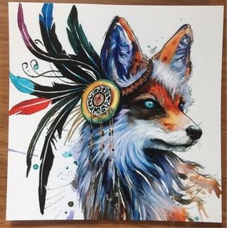 "ADORABLE FOX Native American  - 3 x 3"" MAGNET"