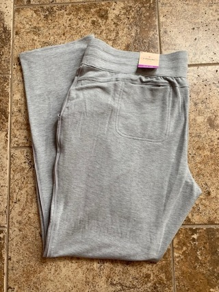 BNWT Women's St. John's Bay Mid Rise Gray Elastic Waist Pants - Size XL