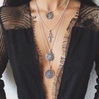 Punk Cross Compass Tarot Symbol Om Pendant Silver Long Necklace Women Fashion Multilayer Necklace