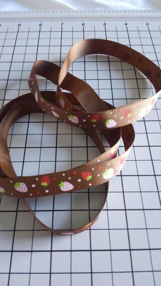 "1 Yard Strawberry Brown Grosgrain Ribbon~5/8"""