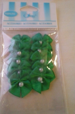 "NIP ~ 10 PC ~ 1"" GREEN RIBBON BOW WITH PEARL (LOT 45)"