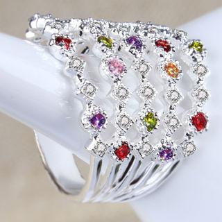 Fashion Multi-Color Topaz Silver Filled Wedding Bridal Ring Gift