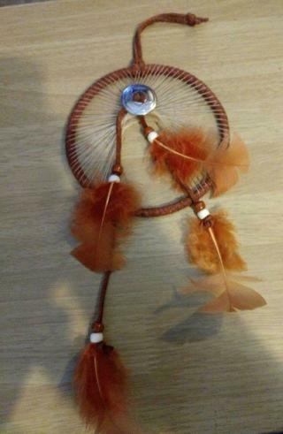 4 1/2 Dream Catcher for auto or home.Brown with Orange Feathers