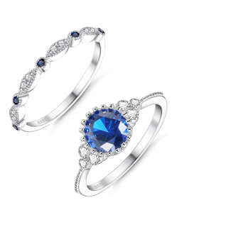 40% OFF! 2 Pcs 925 Sterling Silver Wedding Ring for Women CZ Ring Band