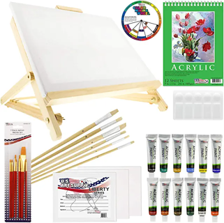 US Art Supply 33 Piece Artist Acrylic Painting Set w/ Easel, Paint, Canvas & Accessories