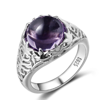 Silver Round Natural Amethyst Rings