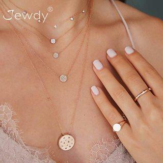 5 PCS/Set Gold Color Crystal Choker Necklace for Women Long Round Tassel Pendant Chain Necklaces &
