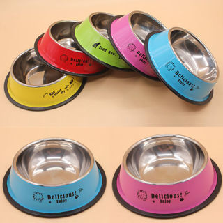 [GIN FOR FREE SHIPPING] 15CM Anti-skid Dog Cat Food Water Drinking Stainless Steel Bowl