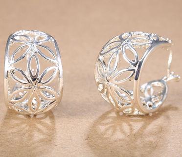 Women Fashion Jewelry 925 Silver Elegant Ear Stud Hoop Dangle Earrings