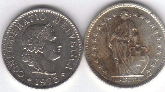 Swiss 1962 Silver Half Franc & 1975 5 Centime