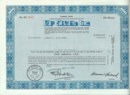 Pop Shops Inc. stock certificate 1969 Sold music records and tapes New York RARE