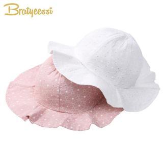 Fashion Baby Sun Hat Summer Cotton Bucket Hat Baby Beach Kids Girls Cap With Wide Brim Pink/White
