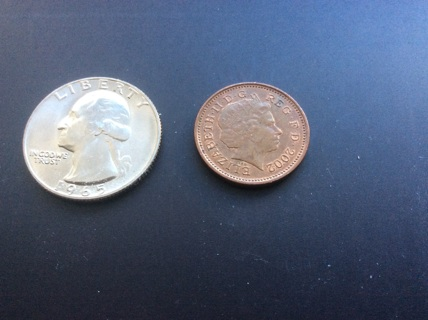 2002 one (1) penny coin from Great Britain or United Kingdom