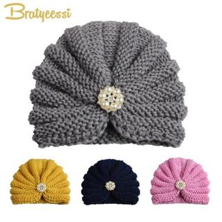 Fashion Winter Baby Girl Hats with Pearls Candy Color Knit Newborn Beanie Hat Baby Fotografia Cap