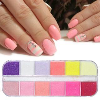 12 Mix Color Pastel Nail Art Glitter Sugar Powder Fine Dust Shining Pigment DIY Decor Flakes Merma