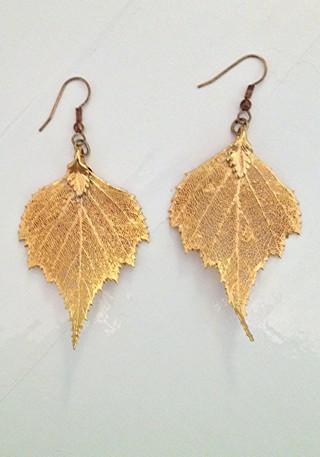 REAL Birch Leaf Earrings