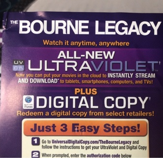 The Bourne Legacy HD UV digital copy