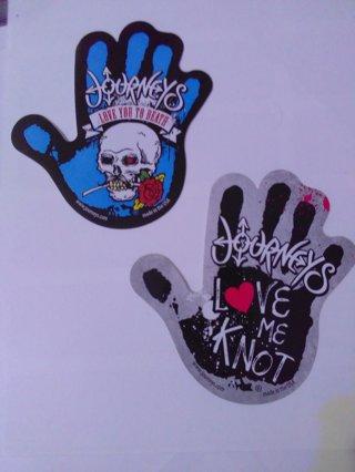 2 Journey hand print stickers