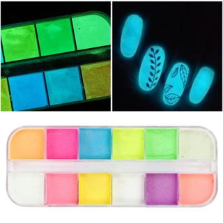 Colorful Neon Fluorescent Powder Nail Glitter Luminous Fine Pigment Glow in Dark For Polish Nail A