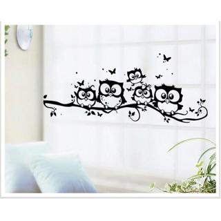 Cute 5 Owls On the Tree Wall Stickers Animals Stickers Butterfly Wall Sticker for Children Room Wa